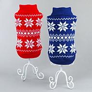 Cica Kutya Pulóverek Karácsony Kutyaruházat Klasszikus Karácsony Újévi Hópehely Piros Kék Jelmez Háziállatok számára