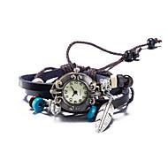 voordelige Bohémien horloges-Dames Modieus horloge Polshorloge Armbandhorloge Kwarts Waterbestendig Leer Band Vintage Bohémien Bangle armband Bruin
