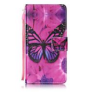 tanie Etui na telefony-Do huawei p8 lite p9 pokrowiec pokrowiec motyl deseń malowanie kartą stent pu skóra