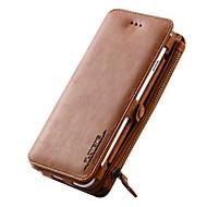 Недорогие Кейсы для iPhone 8 Plus-Кейс для Назначение Apple iPhone X / iPhone 8 / iPhone 7 Кошелек / Бумажник для карт / со стендом Чехол Однотонный Твердый Настоящая кожа для iPhone X / iPhone 8 Pluss / iPhone 8