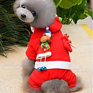Katze Hund Kostüme Kapuzenshirts Hundekleidung Niedlich Weihnachten Massiv Rot