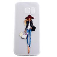 Недорогие Чехлы и кейсы для Galaxy S7 Edge-Кейс для Назначение SSamsung Galaxy S7 edge S7 Прозрачный С узором Кейс на заднюю панель Соблазнительная девушка Мягкий ТПУ для S7 edge S7