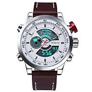 tanie Eleganckie zegarki-Męskie Sportowy Wojskowy Modny Zegarek na nadgarstek Kwarcowy LED Kalendarz Wodoszczelny Dwie strefy czasowe Świecący Stoper Skóra Pasmo