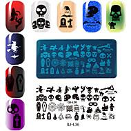 abordables Estampados de Uñas-rectangular plantilla de impresión de la placa de manicura serie de Halloween