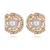 billige -Ørering Mode Perle Rhinsten Legering Cirkelformet Geometrisk form Smykker For Fest 1 par