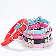 cheap Pet Supplies-Dog Collar Adjustable / Retractable Bone PU Leather Black Rose Red Blue Pink