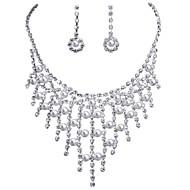 billige -Smykke Sæt Perle Lyserød Brude Perle Simuleret diamant Dråbe Sølv 1 Halskæde 1 Par Øreringe For Bryllup Daglig 1 Sæt Bryllupsgaver