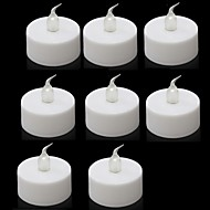 Warm Yellow Light Indoor LED Battery Operated Tea Lights (8 pcs)