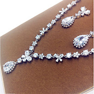 abordables -Bijoux Colliers décoratifs Boucles d'oreille Soirée Zircon 1set Femme Argent Cadeaux de mariage