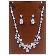 billiga -Smycken Dekorativa Halsband Örhängen Party Zircon 1set Dam Silver Wedding gåvor
