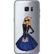 Недорогие Чехлы и кейсы для Galaxy S-Кейс для Назначение SSamsung Galaxy S7 edge S7 Ультратонкий Прозрачный С узором Задняя крышка Соблазнительная девушка Мягкий TPU для S7