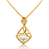 Damskie Naszyjniki z wisiorkami Perła Geometric Shape Perłowy Pozłacane 18K złoty Okragły Unikalny euroamerykańskiej Gold Biżuteria Na