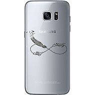 Кейс для Назначение SSamsung Galaxy S7 edge S7 Ультратонкий Прозрачный С узором Задняя крышка  Перья Мягкий TPU для S7 edge S7 S6 edge