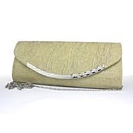 お買い得  ハンドバッグ-女性 バッグ サテン イブニングバッグ のために イベント/パーティー ブラック シルバー レッド ブルー ゴールデン