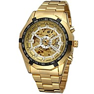 cheap Jewelry & Watches-FORSINING Men's Wrist Watch Mechanical Watch Automatic self-winding Hollow Engraving Stainless Steel Band Analog Luxury Fashion Gold - Gold White Black
