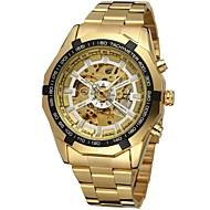 abordables Winner-FORSINING Hombre Reloj de Pulsera El reloj mecánico Cuerda Automática Huecograbado Acero Inoxidable Banda Analógico Lujo Moda Dorado - Dorado Blanco Negro