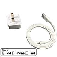 iphone 6アプリのiPodのためのUL認証トラベル壁電荷1A / 2.1A出力ダブル+リンゴMFI認定雷FALTケーブル