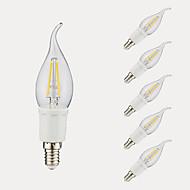 お買い得  -GMY® 6本 3W 380/300lm E12 フィラメントタイプLED電球 B 4 LEDビーズ COB 温白色 クールホワイト 110-130V