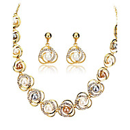 ジュエリーセット 人造真珠 ラインストーン 真珠 18K 金 合金 ゴールド 結婚式 パーティー 日常 1セット 1×ネックレス 1×イヤリング(ペア) ウェディングギフト