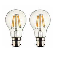 5W B22 LED Filament Bulbs G60 6 leds COB Dimmable Warm White 500-600lm 2700-3500K AC 220-240 AC 110-130V