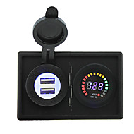 Недорогие Автомобильные зарядные устройства-12v светодиодный цифровой дисплей вольтметра и 4.2а USB адаптер с держателем корпус панель для автомобиля лодки грузовик с.в.