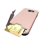 Кейс для Назначение SSamsung Galaxy A5(2017) A3(2017) Бумажник для карт со стендом Задняя крышка Сплошной цвет Твердый PC для A3 (2017)