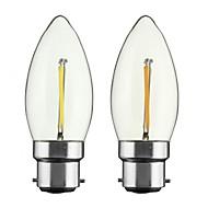 お買い得  -ONDENN 2pcs 2W 150-200lm E26 / E27 B22 フィラメントタイプLED電球 CA35 1 LEDビーズ COB 調光可能 温白色 110-130V 220-240V