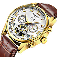 Недорогие Фирменные часы-KINYUED Муж. Модные часы / Нарядные часы / Часы со скелетом Календарь / Секундомер / Защита от влаги Кожа Группа Роскошь / На каждый день Коричневый / С автоподзаводом / Фосфоресцирующий