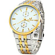abordables Ofertas en Relojes-Hombre Cuarzo Reloj de Pulsera / Reloj Casual Acero Inoxidable Banda Vintage Casual Reloj de Vestir Moda Blanco