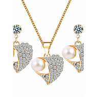 Women's Jewelry Set Rhinestone Basic Costume Jewelry Imitation Pearl Rhinestone Alloy Heart 1 Necklace 1 Pair of Earrings For Wedding