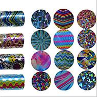 1pcs 100*4CM Fashion Nail Glitter Transfer Foils Stickers Colorful Geometric Magical Wave Stripe Image Nail DIY Beauty Design Nail Foils Tip CS01-16