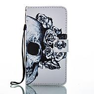 Für Geldbeutel Kreditkartenfächer mit Halterung Flipbare Hülle Muster Hülle Handyhülle für das ganze Handy Hülle Totenkopf Hart PU - Leder