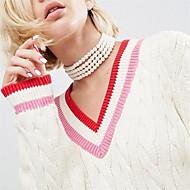 お買い得  -女性用 黒曜石 チョーカー  -  人造真珠 オリジナル, 欧米の 手作り ホワイト ネックレス ジュエリー 用途 パーティー, 日常, カジュアル