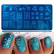 1pcs venta caliente de acero uñas copo de nieve hermoso diseño encantador de la manera DIY placa de estampación de acero que sella la