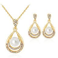 preiswerte -Damen Schmuckset Klassisch Modisch Party Alltag Künstliche Perle Strass vergoldet Aleación Tropfen 1 Halskette 1 Paar Ohrringe