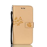 Недорогие Чехлы и кейсы для Galaxy A8-Кейс для Назначение SSamsung Galaxy A5(2017) A3(2017) Бумажник для карт Кошелек со стендом Флип С узором Рельефный Чехол Цветы Твердый