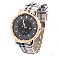 baratos -Mulheres Homens Unisexo Relógio de Moda Quartzo Couro Banda Casual Preta Branco Vermelho