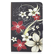 Pour samsung galaxy tab e 9.6 couverture de boîtier motif de fleurs carte peinte portefeuille stent pu matériel de peau coquille de