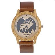 Недорогие Мужские часы-Муж. Часы Дерево Уникальный творческий часы Наручные часы Повседневные часы Китайский Кварцевый / деревянный Кожа Группа На каждый день