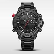Недорогие Фирменные часы-WEIDE Муж. Армейские часы / Спортивные часы Японский Будильник / Календарь / Защита от влаги Нержавеющая сталь Группа Черный