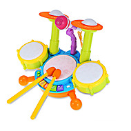 cheap Toys & Hobbies-LED Lighting Drum Set Toy Instruments Toys Drum Set Jazz Drum Plastic Metal Pieces Children's Gift