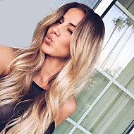 Women Synthetic Wig Capless Long Wavy Blonde Ombre Hair Dark Roots Middle Part Natural Wigs Costume Wig