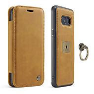 Недорогие Чехлы и кейсы для Galaxy S8 Plus-Кейс для Назначение SSamsung Galaxy S8 Plus S8 Бумажник для карт Кольца-держатели Магнитный Чехол Сплошной цвет Твердый Настоящая кожа для