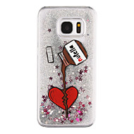 Недорогие Чехлы и кейсы для Galaxy S8-Кейс для Назначение SSamsung Galaxy S8 Plus S8 Движущаяся жидкость Прозрачный С узором Задняя крышка С сердцем Прозрачный Сияние и блеск