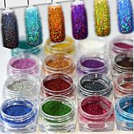 1set 17pcs Pudră / Pulbere cu sclipici Elegant & Luxos / Strălucitor & Sclipitor / Glitter de unghii Nail Art Design