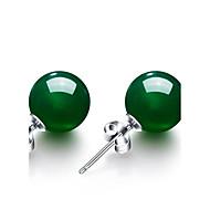 abordables Plata de ley-Mujer Esmeralda sintética Pendientes cortos - Esmeralda Vintage, Moda Verde Para Boda Fiesta Aniversario
