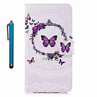 Etui til eple ipod touch 5 touch 6 case cover mønster full body case med stylus butterfly hard pu lær