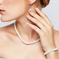Damskie Zestawy biżuterii Naszyjnik / Kolczyki Pasemka Naszyjniki Elegancki Ślubny biżuteria kostiumowa Perłowy Circle Shape Náušnice