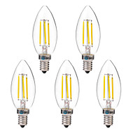 cheap LED Filament Bulbs-BRELONG® 5pcs 4W 350 lm E14 LED Filament Bulbs C35 4 leds COB Warm White White AC 220-240V