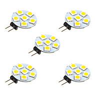 Χαμηλού Κόστους Φωτιστικά LED δυο ακίδων-5pcs 1W 68 lm G4 LED Φώτα με 2 pin 6 leds SMD 5050 Θερμό Λευκό Άσπρο DC 12V